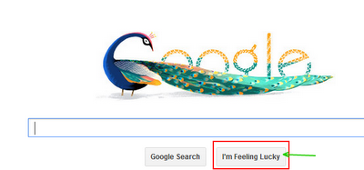 What is meant by Google's I'm feeling lucky button?