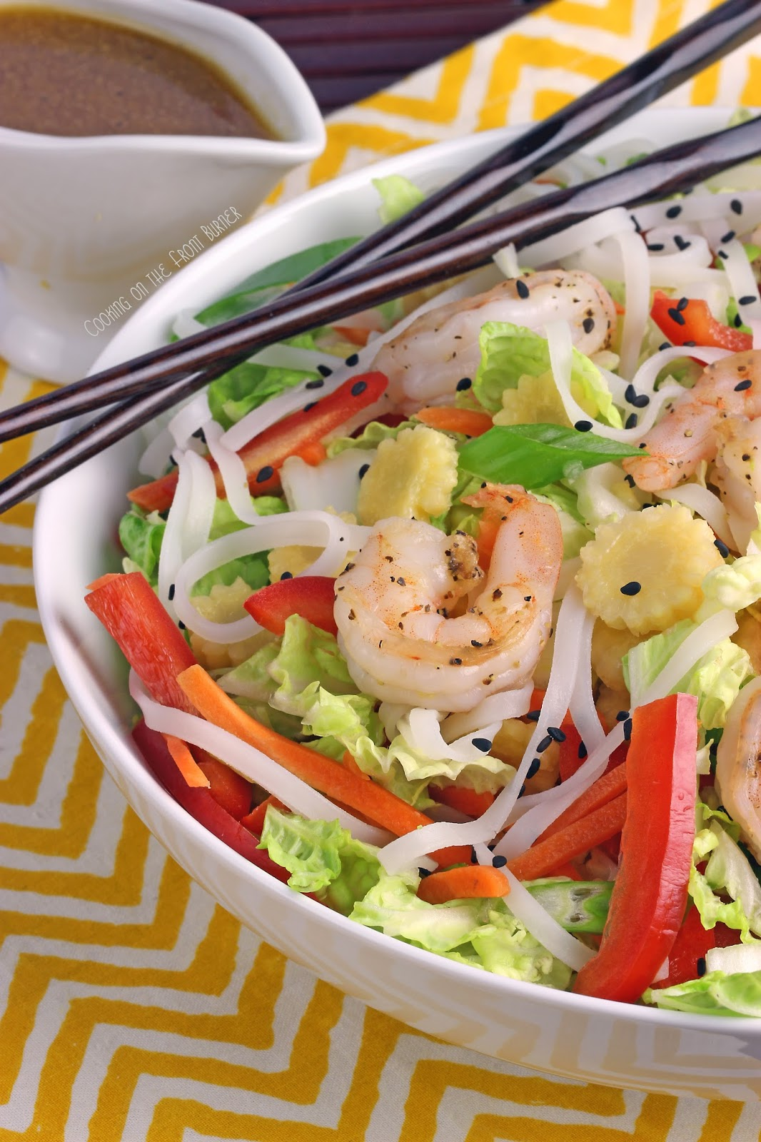 Asian Shrimnp Salad Bowl | Cooking on the Front Burner #asiansalad #gingerdressing