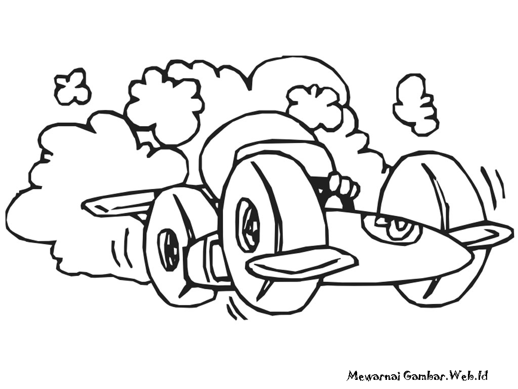 Mewarnai Gambar Mobil Balap Kartun