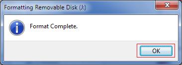 Disk Format Complete