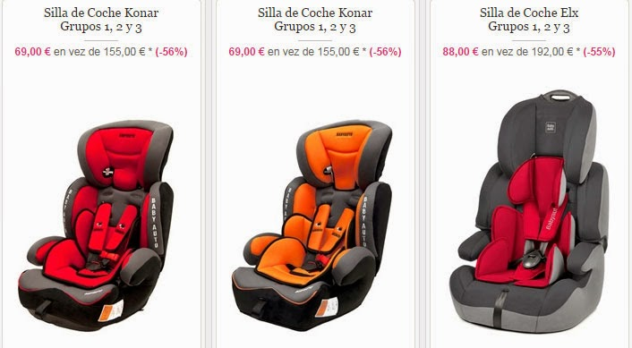 Sillas para coche del grupo 1,2 y 3 por sólo 69 euros