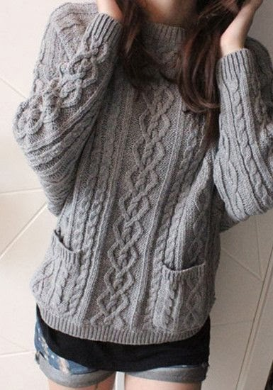 Adorable Long Grey Ladies Sweater