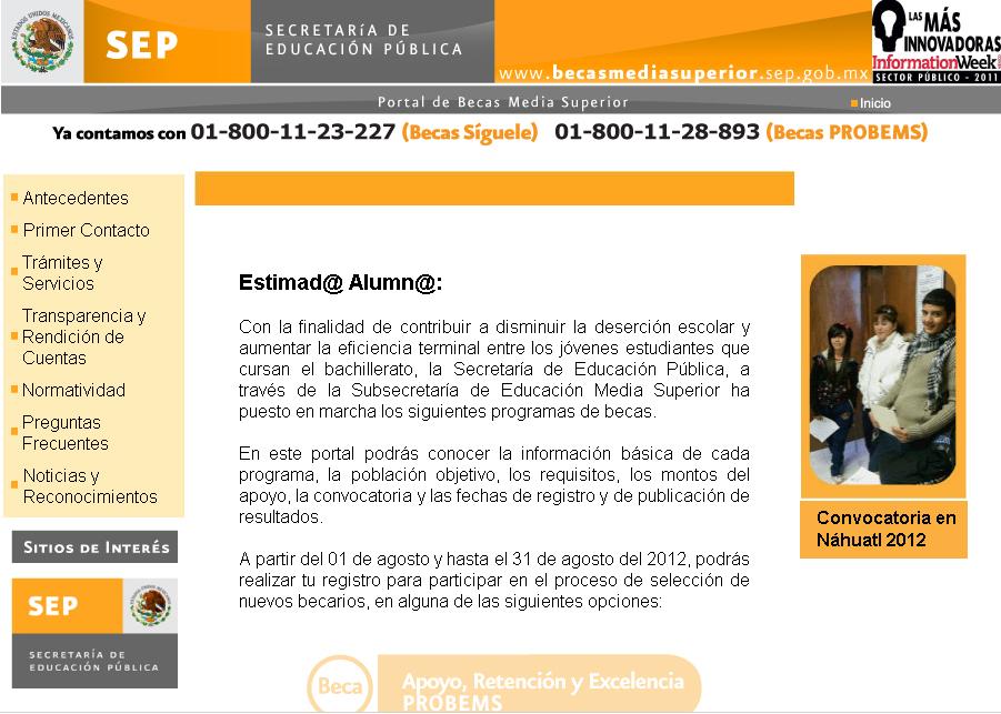 Convocatoria 2012 Programa de Becas de Educación Media Superior