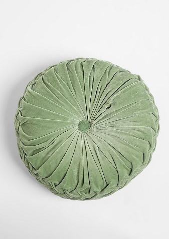 Velvet Green Crystal Round Pintuck Pillows