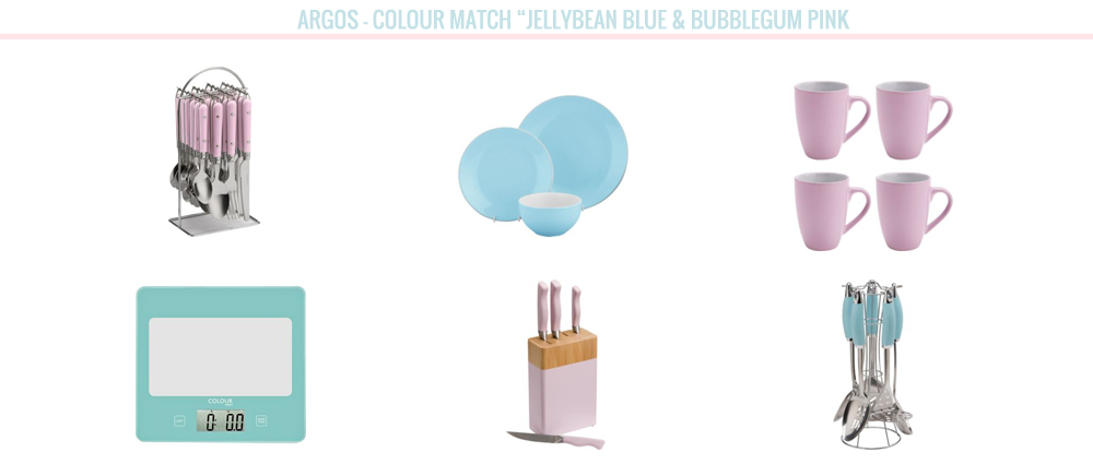 home bloggers, home, home wishlist, wishlist Argos colour match range, jellybean blue and bubblegum pink knife block, utensils, cutlery