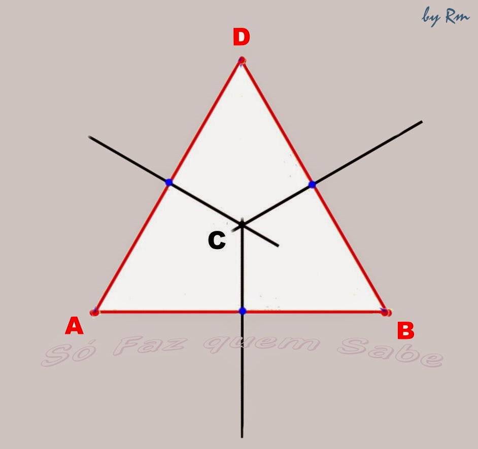 O ponto de intersecção das três mediatrizes do triângulo gera o circuncentro. Centro da circunferência circunscrita.