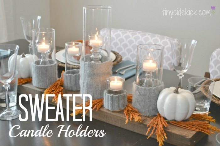 Sweater candle holder for a modern fall centerpiece