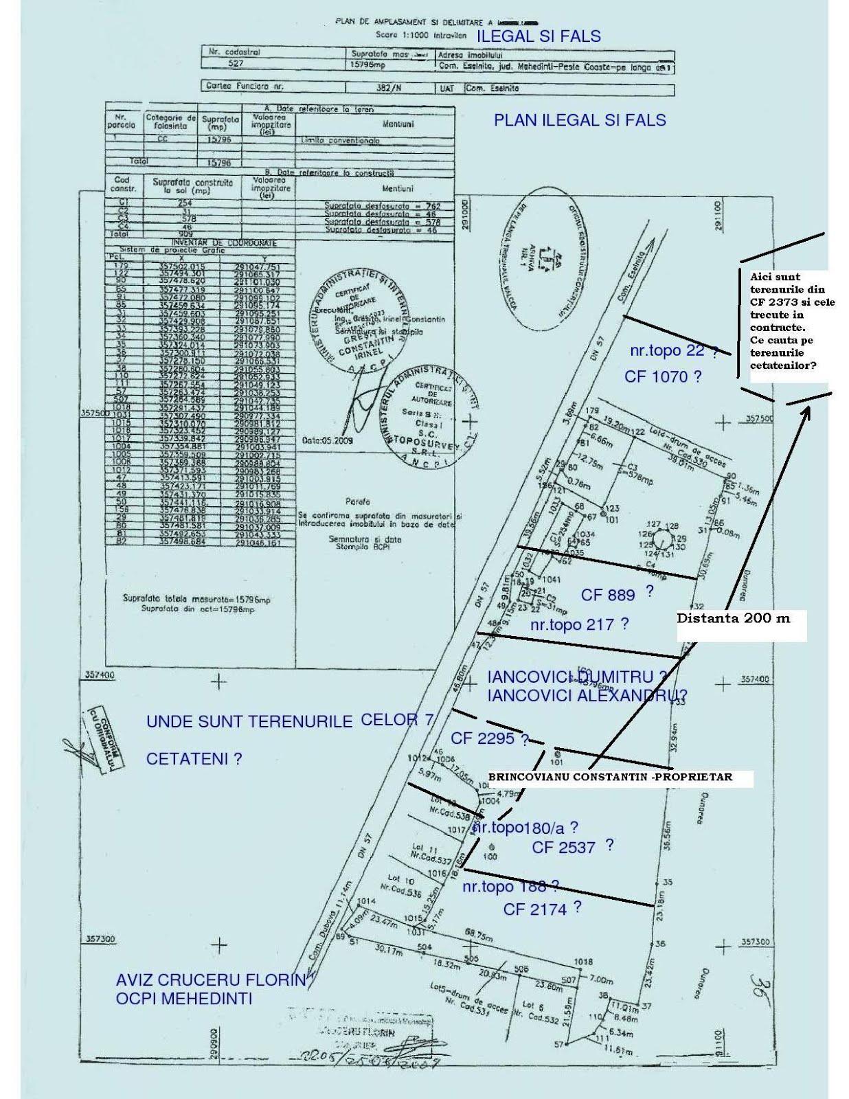 2.Avizul nr.2205  din 25.06.2009 - al OCPI Mehedinti - FALS SI ILEGAL
