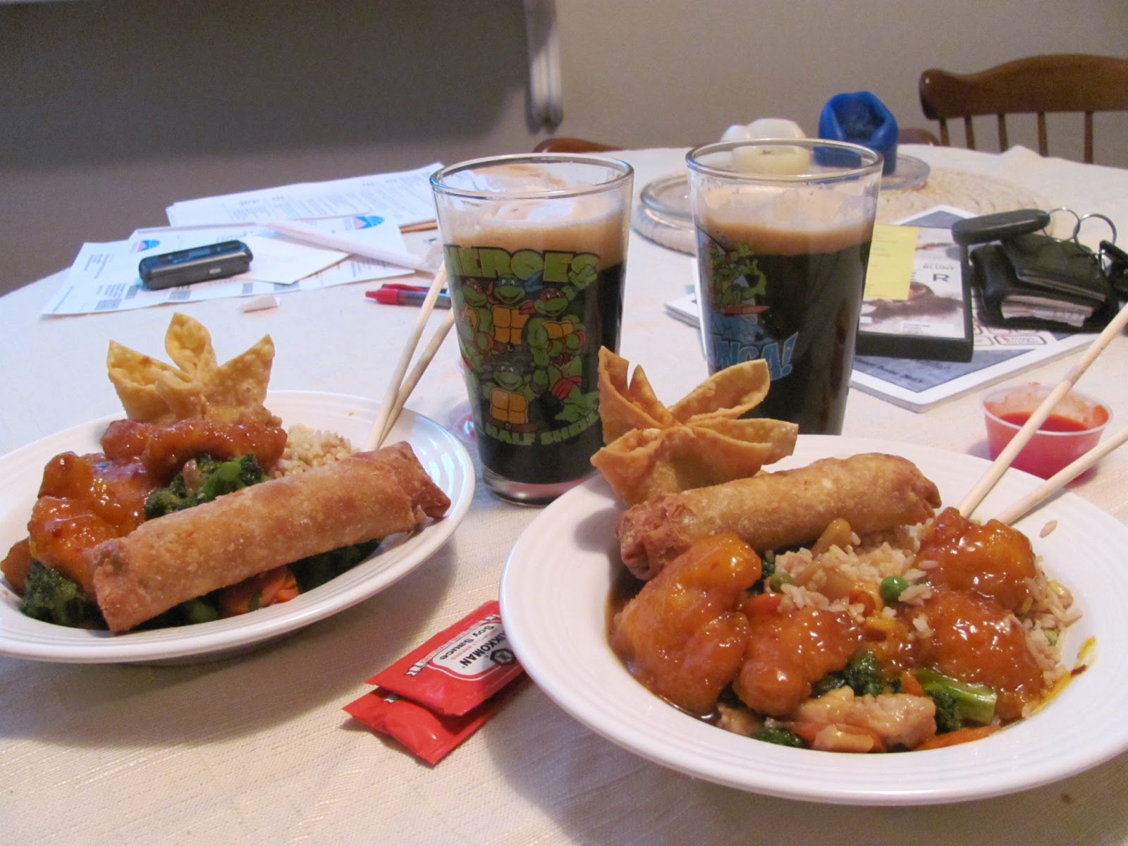 Celebrating the job offer to work in Dublin, Ireland with chinese food and homebrew beer