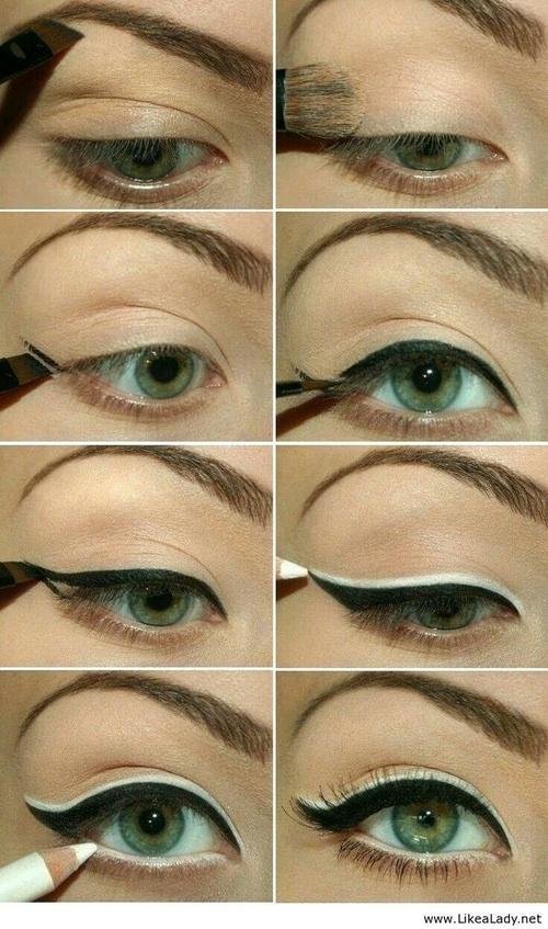 Макияж глаз черным и белым карандашом для глаз