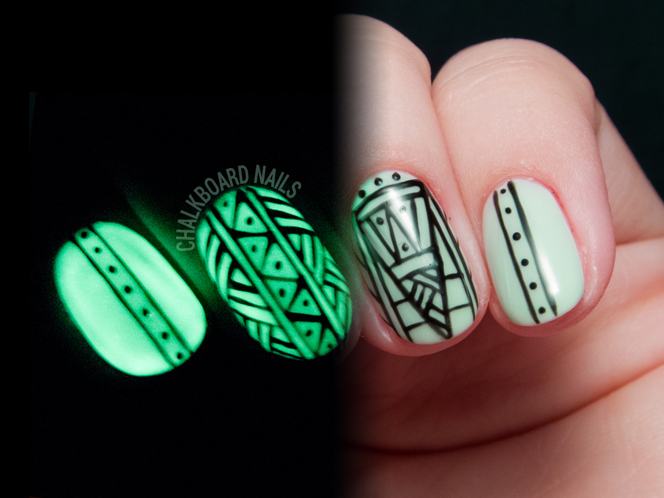 Whats Green Glittered And Glowing All Over Chalkboard Nails