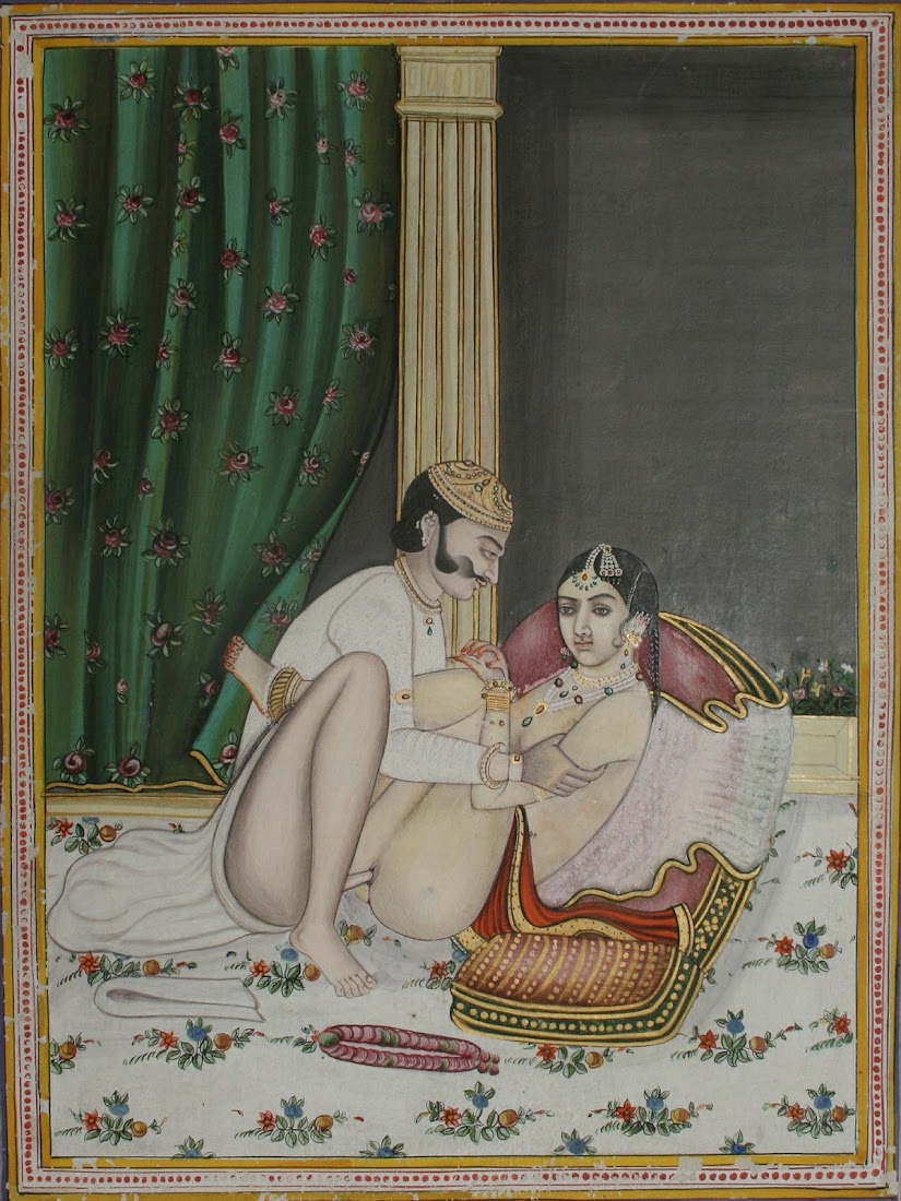 Couple in Erotic Asana (Position), Late Mughal - 19th Century
