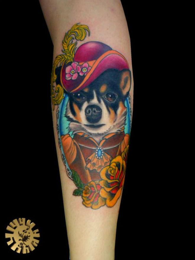 Tatuagem Cachorro em Moldura