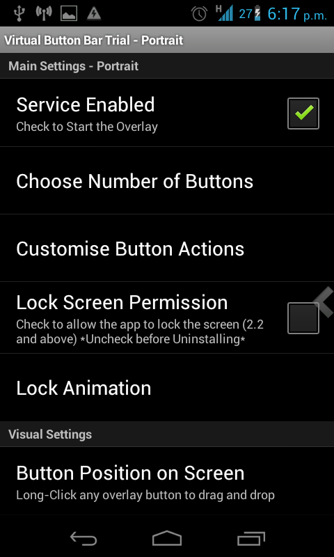 activar aplicacion virtual button bar