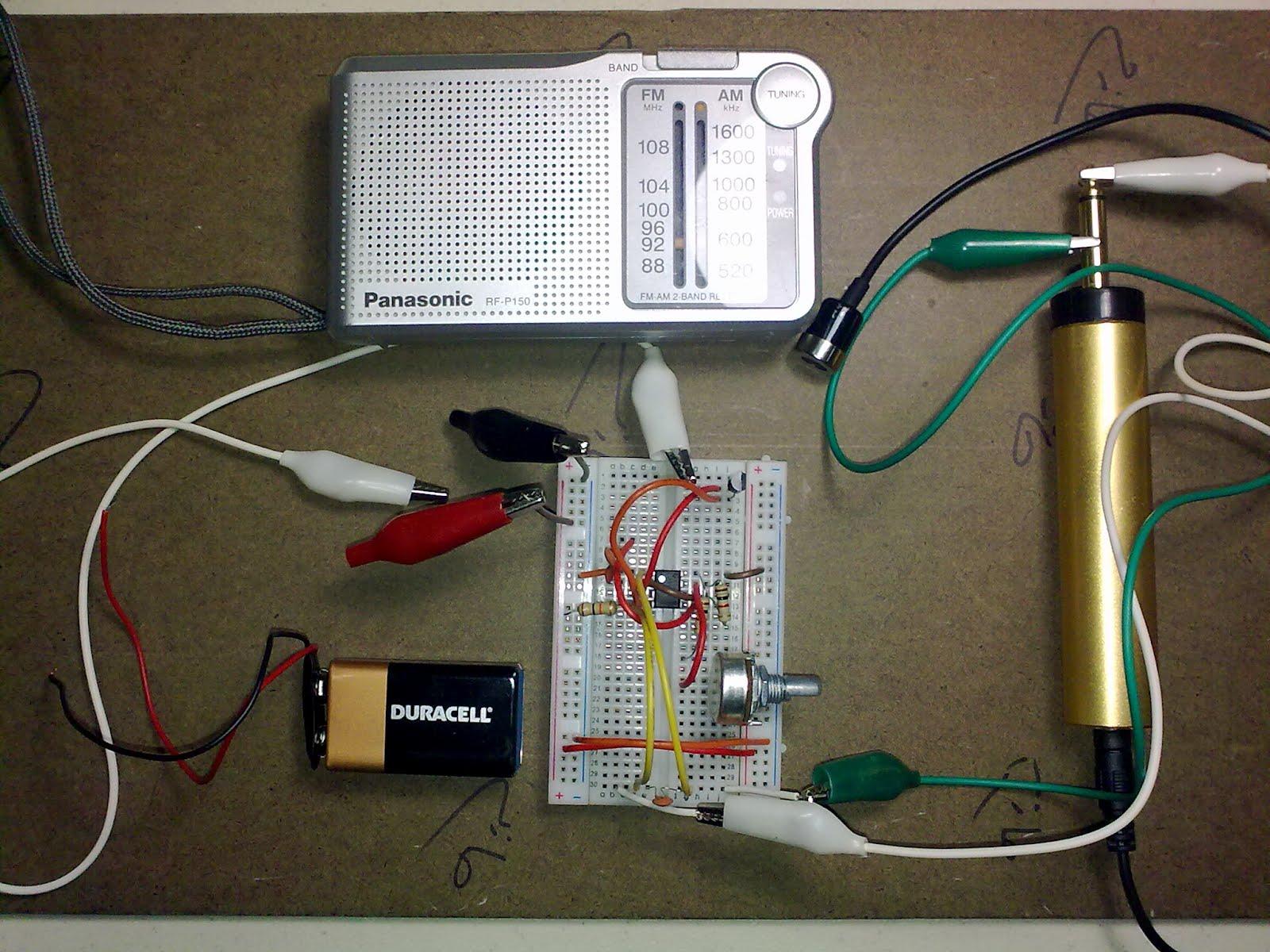 Am Radio Transmitter Using 9v Fm 555 Ic Npn Transistor Mic