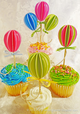 3D balloon cupcake toppers