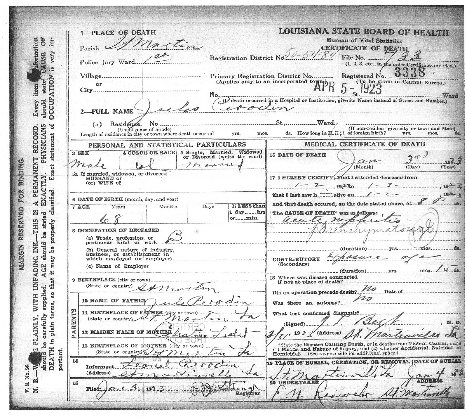 Family history angie sandro finding jules perrodin of microfilmed death certificates for deaths that occurred in louisiana between 19111960 i was able to order a copy of jules death certificate xflitez Image collections