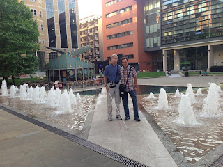Mike and Charles at a Fountain in Birmingham
