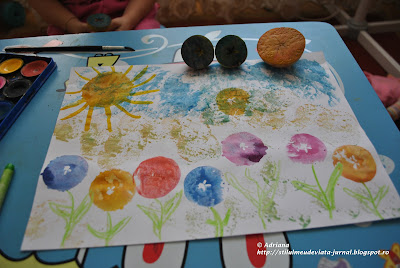 multe flori realizate cu o stampila din mar