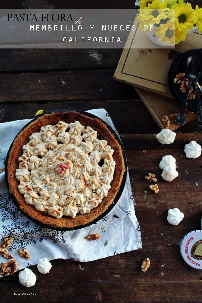 Pastaflora de membrillo , merengue  y nueces de california