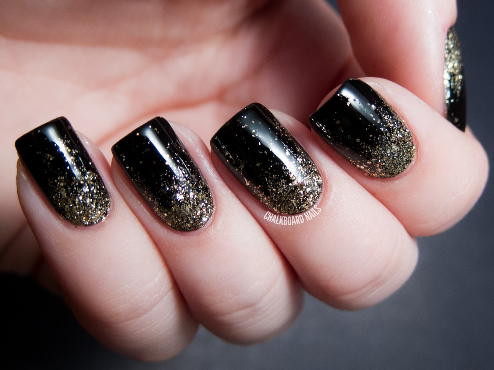 : Black and Gold Nail Art Ideas | Chalkboard Nails | Nail Art Blog