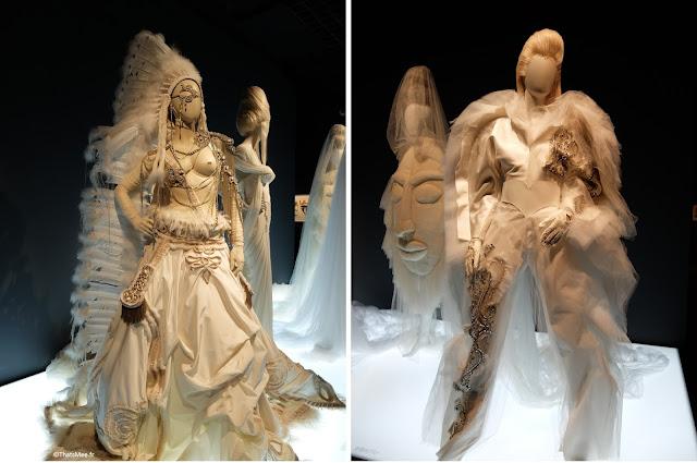 robe de mariée pantalon Elvis ou David Bowie Jean-Paul Gaultier, robe de mariée Apache guerrière indiennejean-Paul Gaultier, expo JPG Grand Palais Paris