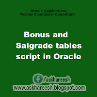 Bonus and Salgrade tables script in Oracle, askhareesh blog for Oracle Apps