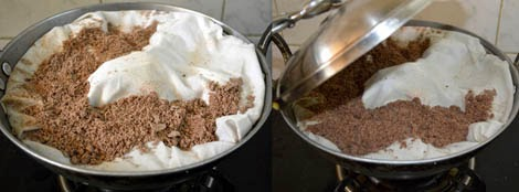 preparing ragi puttu