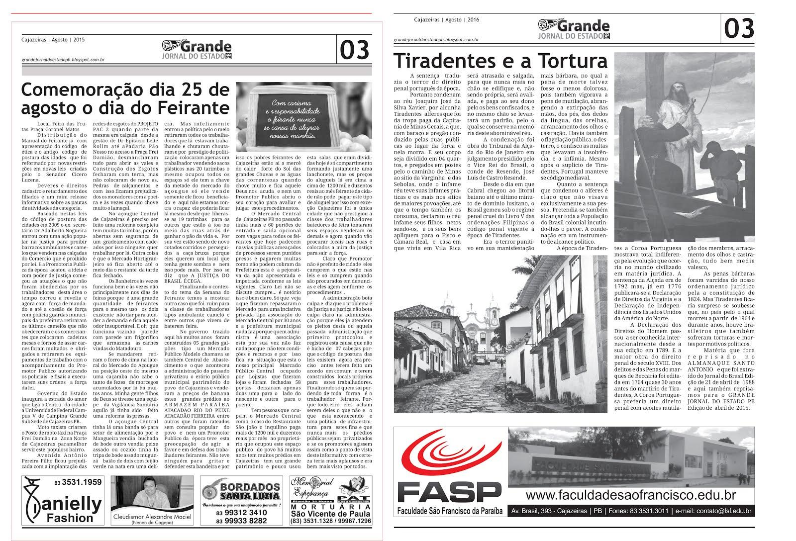 GRANDE JORNAL  DO ESTADO  E  NET  RÁDIO  CULTURA  FM  CAJAZEIRAS ESPECIAL DE TIRADENTES  21 ABRIL