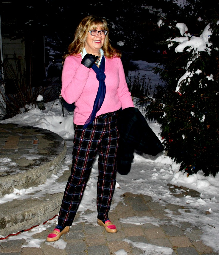 Target plaid pants with a pink cashmere sweater  and tommy loafers 2