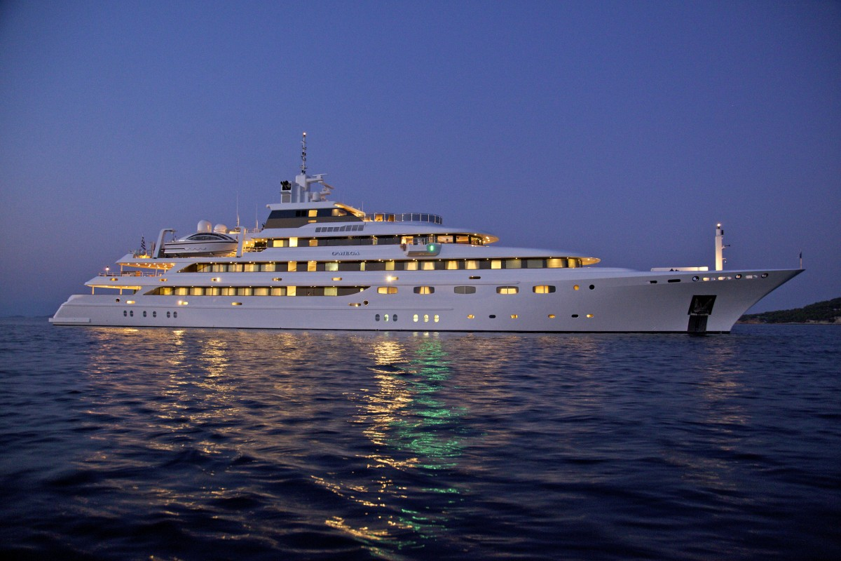 Superyacht O'MEGA at Night