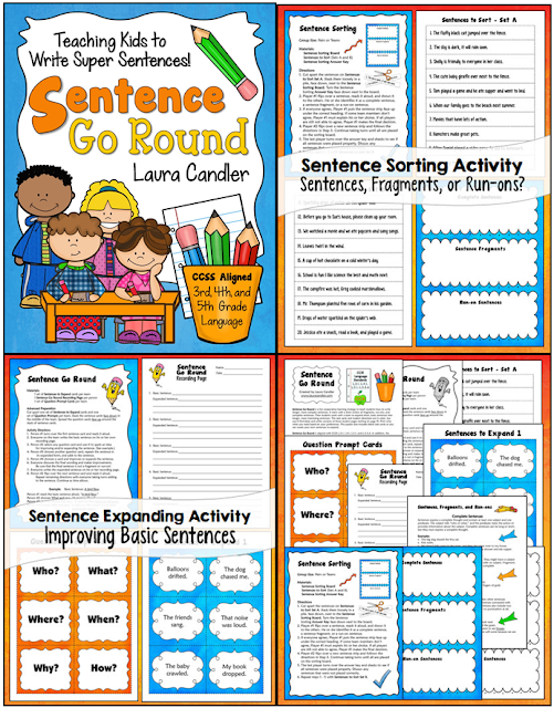 Teaching Kids to Write Super Sentences - Corkboard Connections blog post with free seasonal sentences to expand task cards to go with Sentence Go Round from Laura Candler.