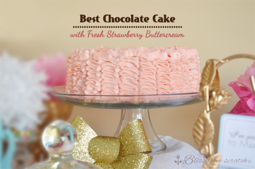 Best Chocolate Cake with Fresh Strawberry Buttercream
