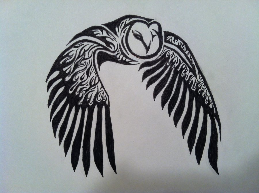 Owl tattoo designs ideas photos images pictures popular for Tribal owl tattoo