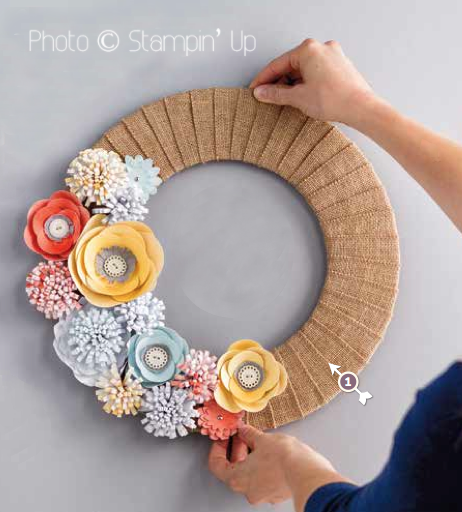 Stampin' Up Burlap wreath kit available to buy from Crafting Clares paper moments