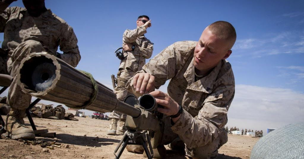 usmc scout snipers with his m40a5 sniper rifle in