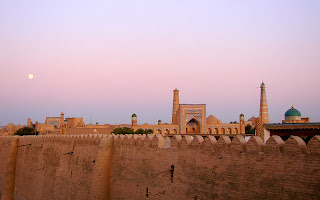 A view over the walls of the ancient city Silk Road city of Khiva.