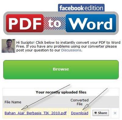 Convert PDF ke Word di Facebook