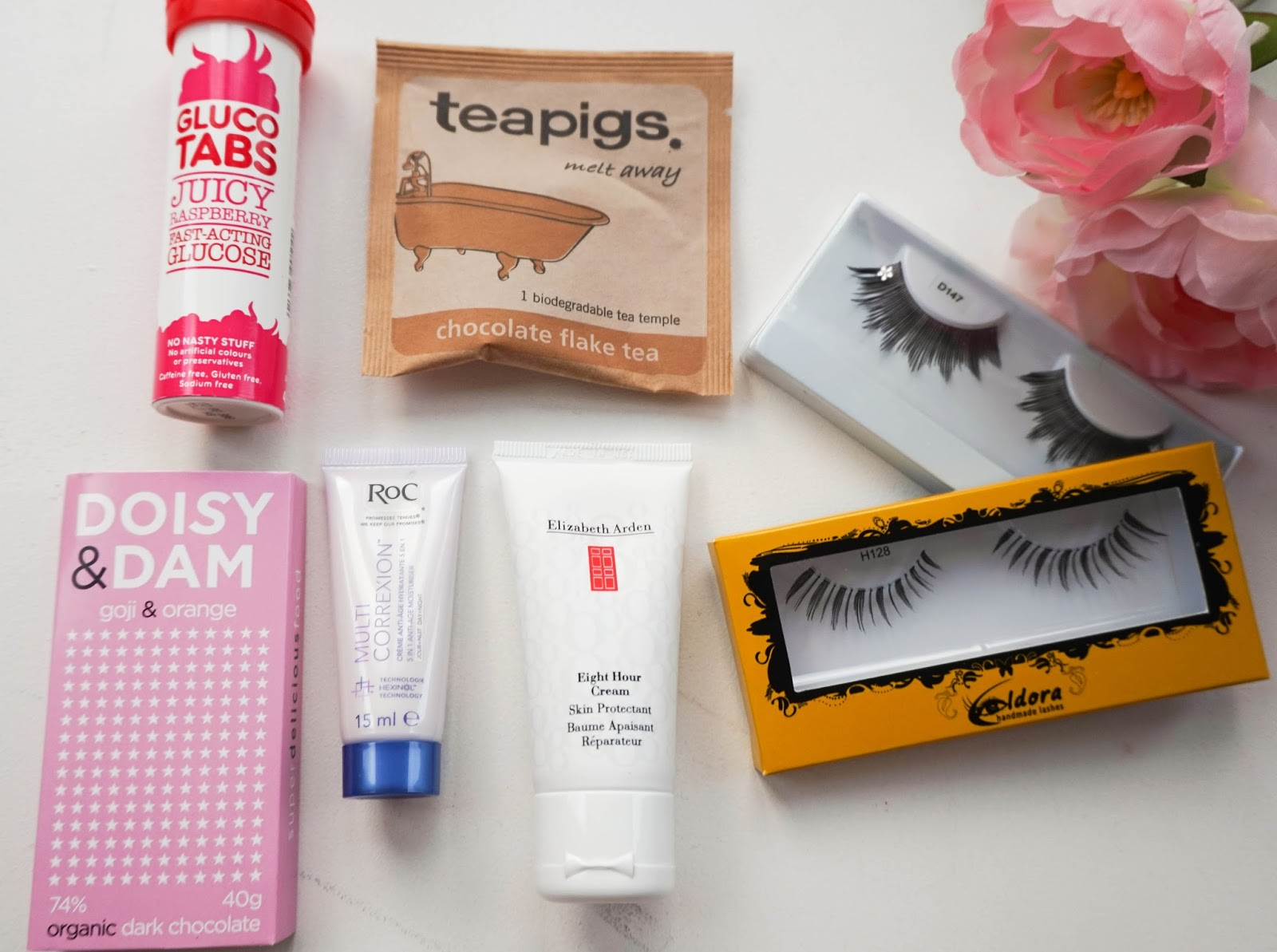 Gluco Tabs, Teapigs, Eldora Lashes, Daisy & Dom, Roc, Elizabeth Arden 8 Hour Cream