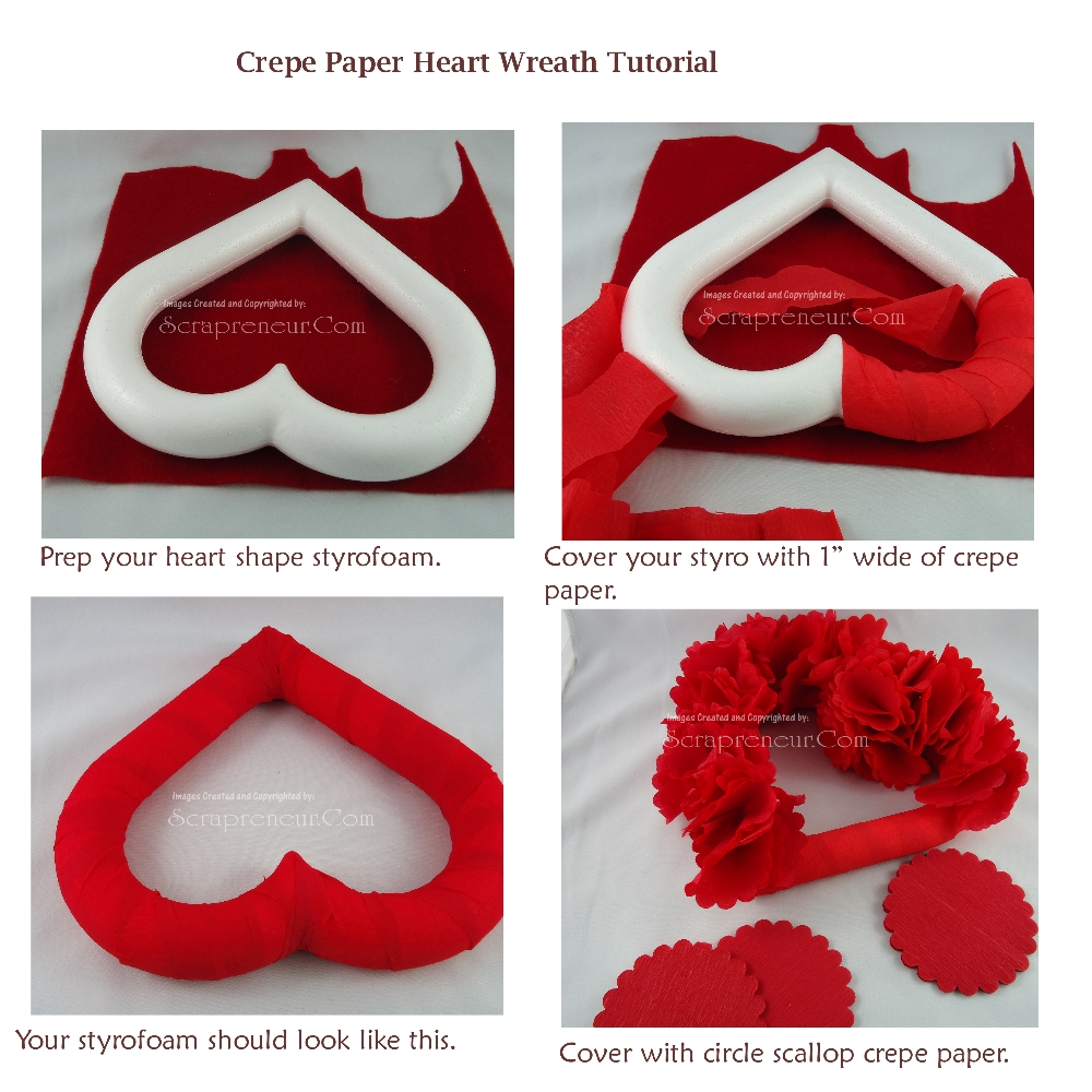 Jinkys Crafts Designs Crepe Paper Heart Wreath Tutorial