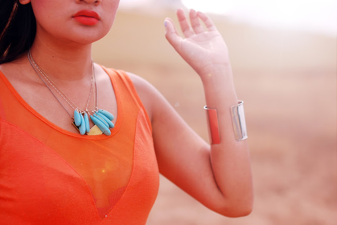 Orange Dress Desert White Milk Summer Sky necklace