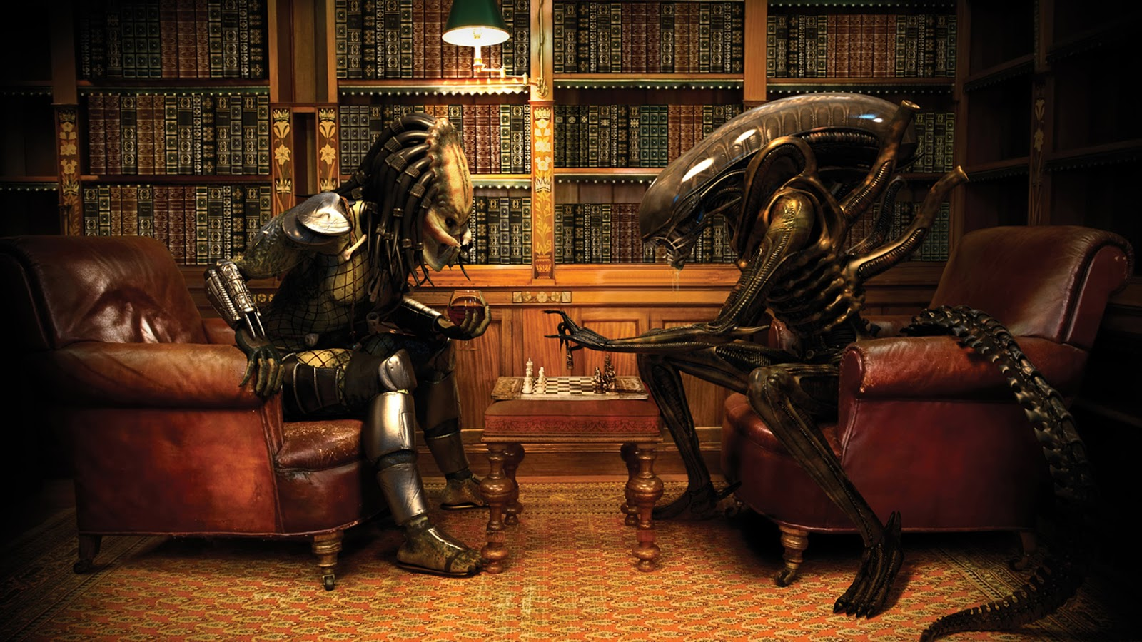 Alien Vs predator Chess Play Funny Wallpapers