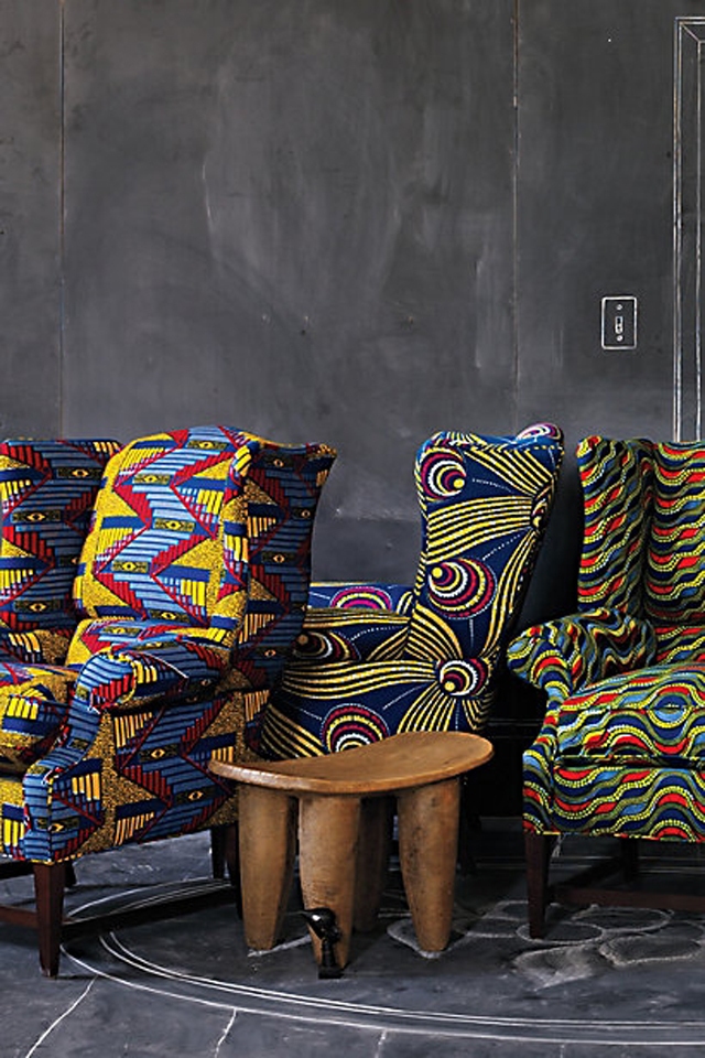 The Josef Wingback Chair from Anthropologie african print home decoration
