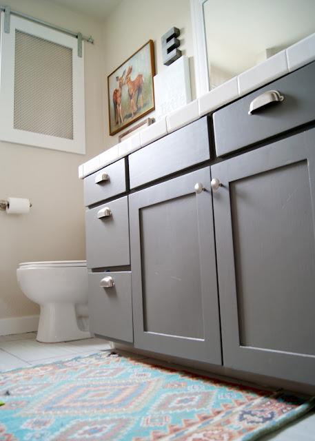 Project Kid's Bathroom Makeover - before & after - Martha Stewart Zinc on vanity - World Market Rug