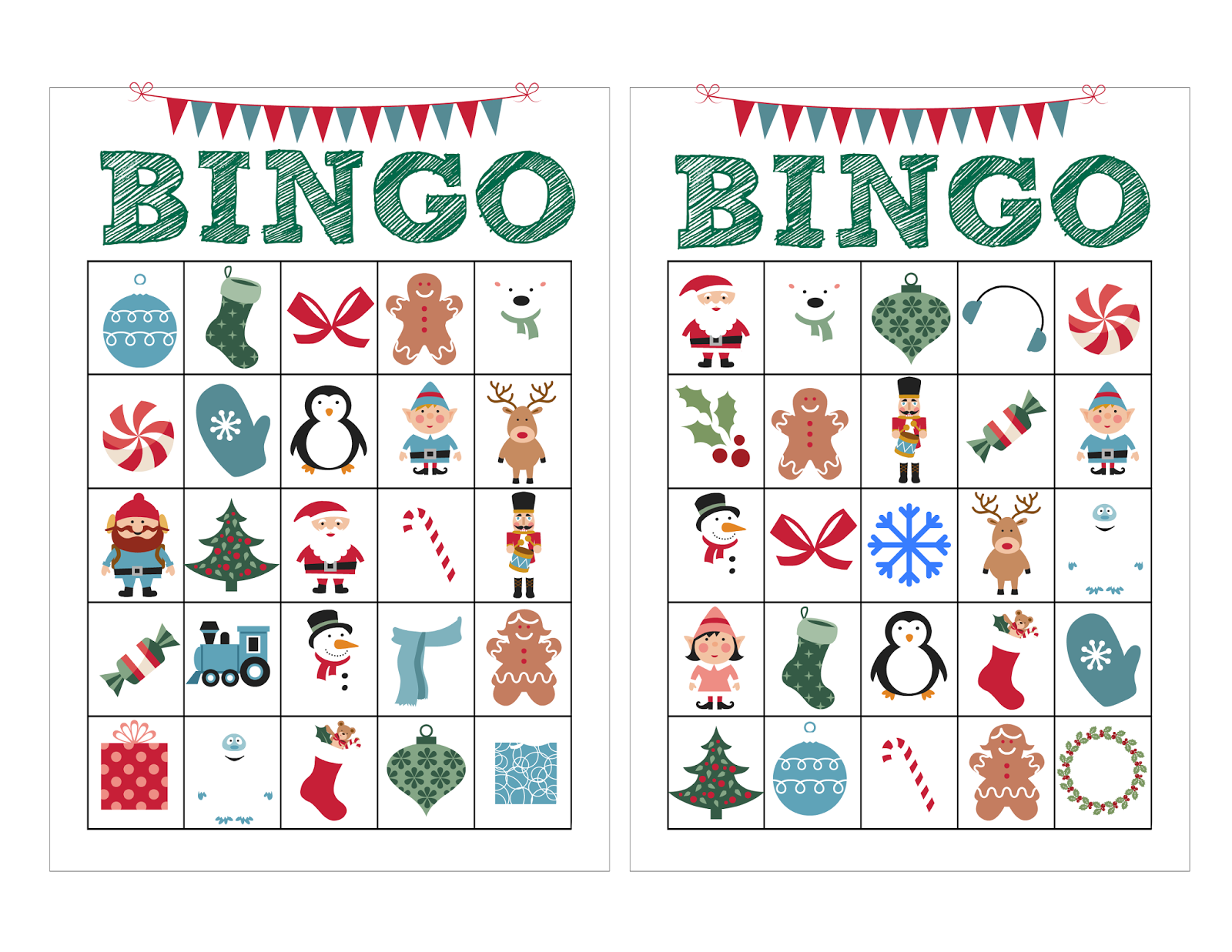 Nifty image for free christmas bingo cards printable