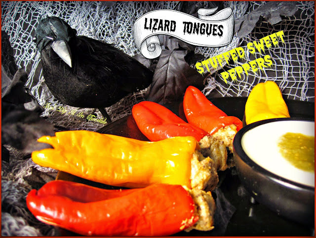 Lizard Tongues Halloween Stuffed Sweet Peppers from Just Dip it in Chocolate