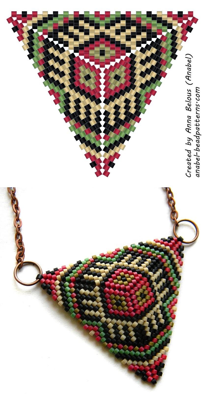 Схема бисерного треугольника - мозаичное плетение - free peyote triangle pattern