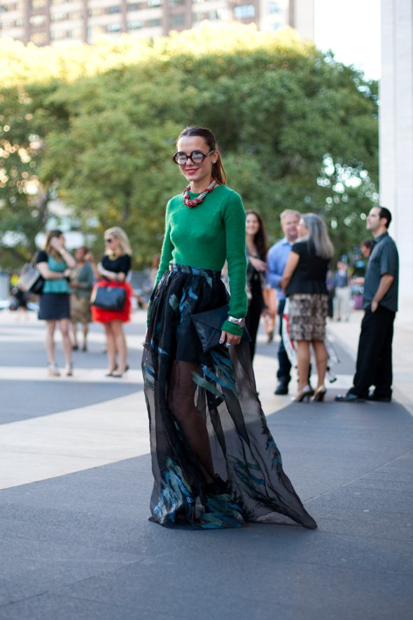green sweater with dress, blue sheer overlay, new york fashion week womens street stlyle
