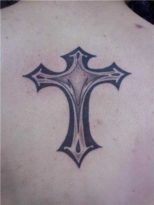 cross tattoo,back tattoo,black and white tattoo