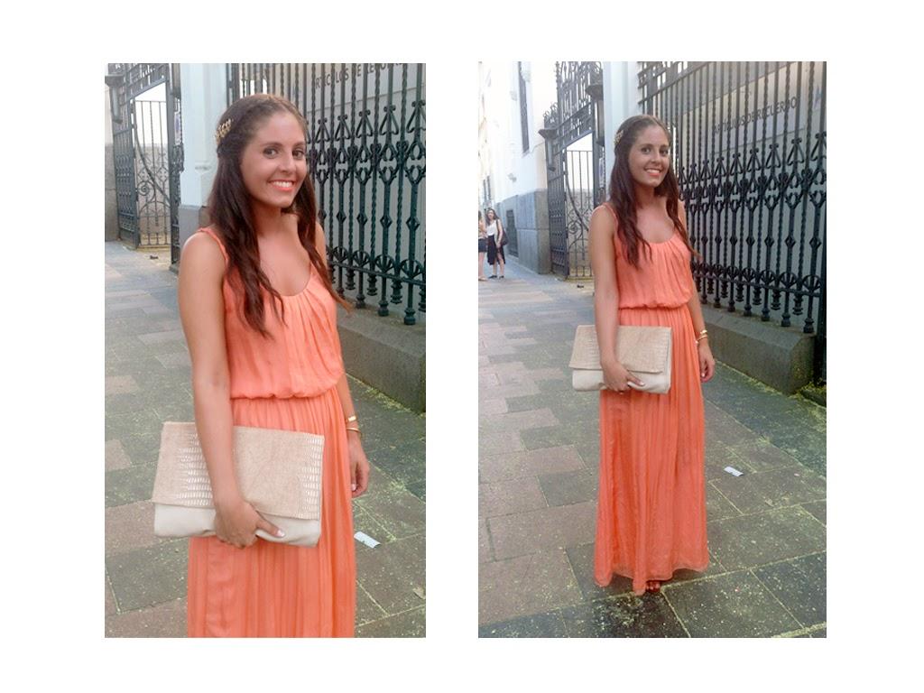 wedding look_orange dress_crown
